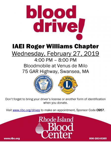 IAEI Roger Williams Blood Drive ~ February 27, 2019 ...