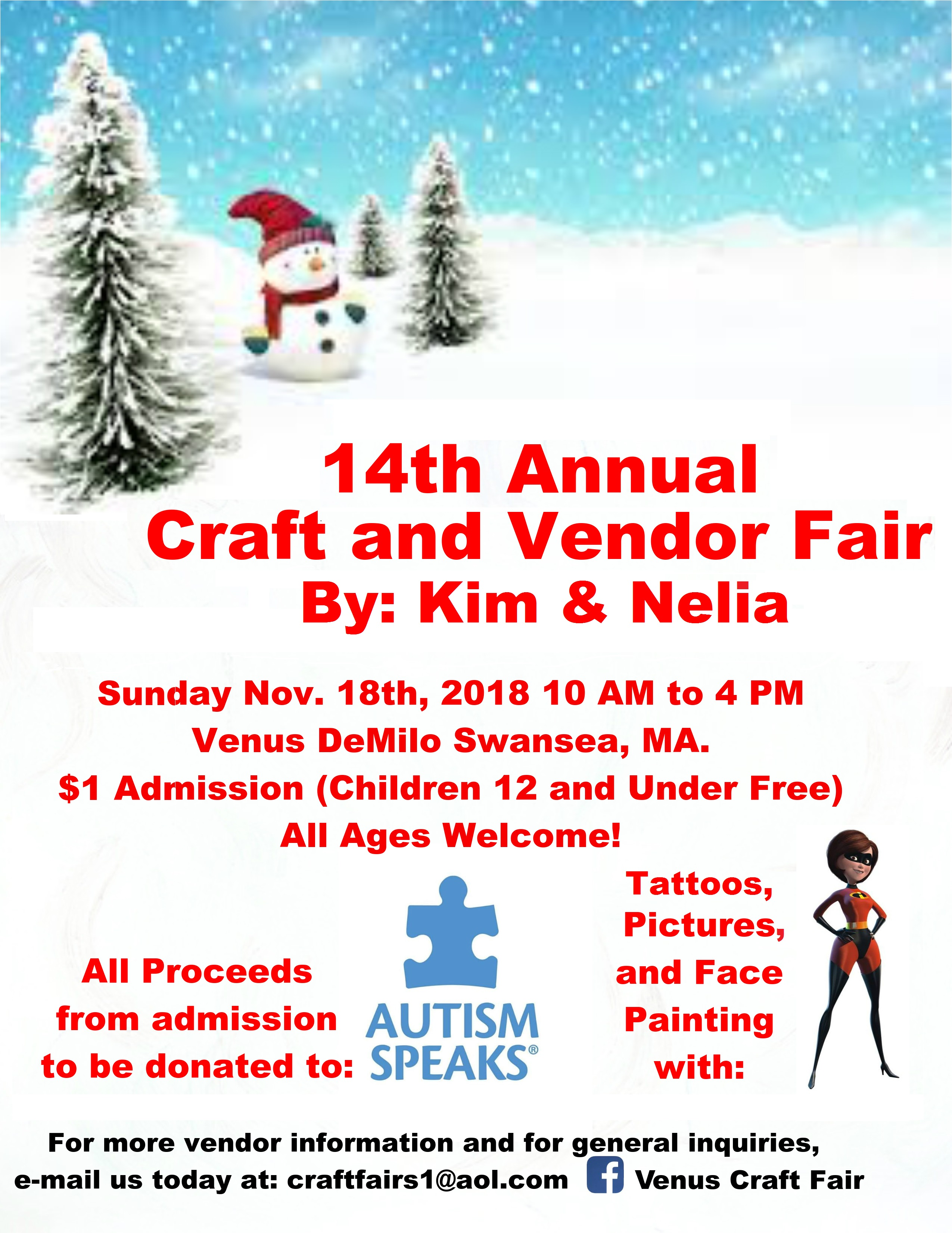 14th Annual Craft & Vendor Fair ~ November 18, 2018 | Venus de Milo